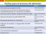 fechas para el proceso de admisi n5