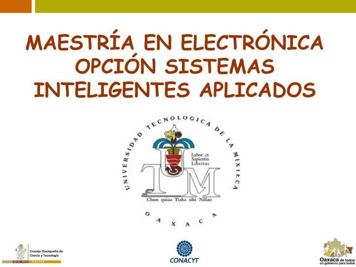 MAESTRÍA EN ELECTRÓNICA OPCIÓN SISTEMAS INTELIGENTES APLICADOS