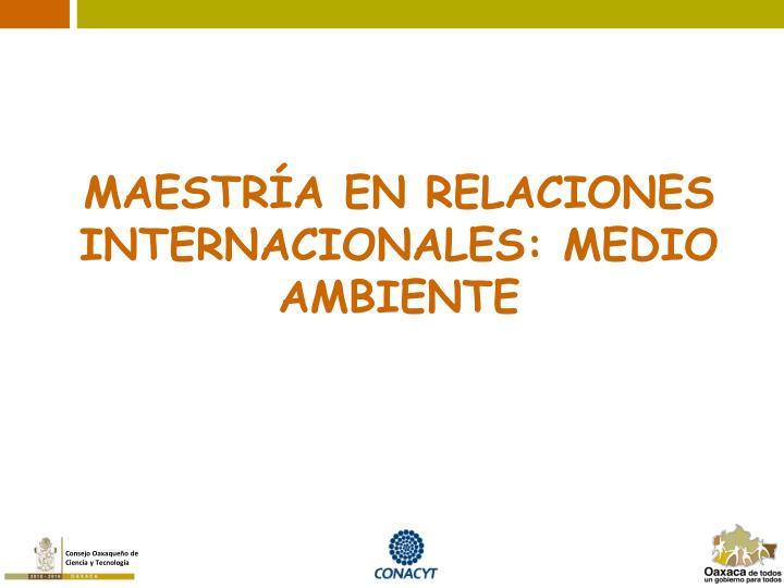 MAESTRÍA EN RELACIONES INTERNACIONALES: MEDIO AMBIENTE