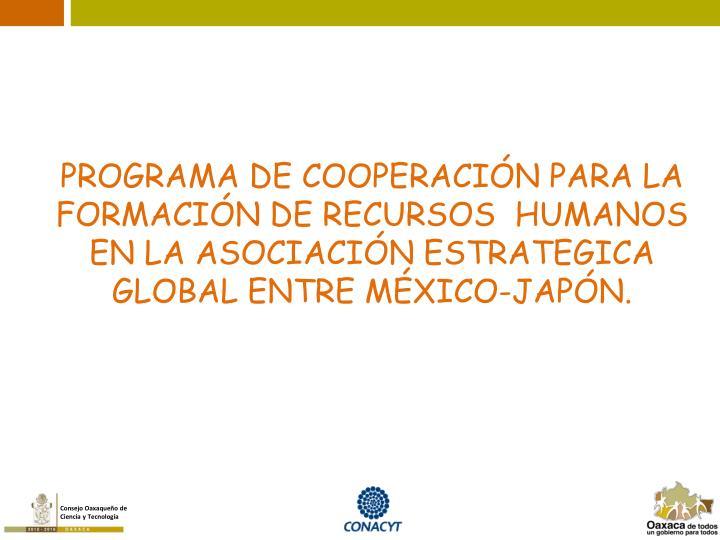 PROGRAMA DE COOPERACIÓN PARA LA FORMACIÓN DE RECURSOS