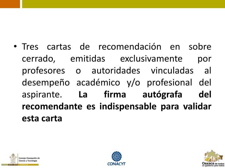Tres cartas de recomendación en sobre cerrado, emitidas exclusivamente por profesores o autoridades vinculadas al desempeño académico y/o profesional del aspirante.