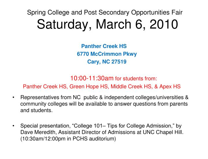 Spring College and Post Secondary Opportunities Fair