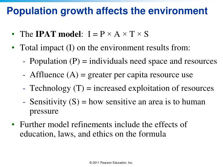 Population growth affects the environment