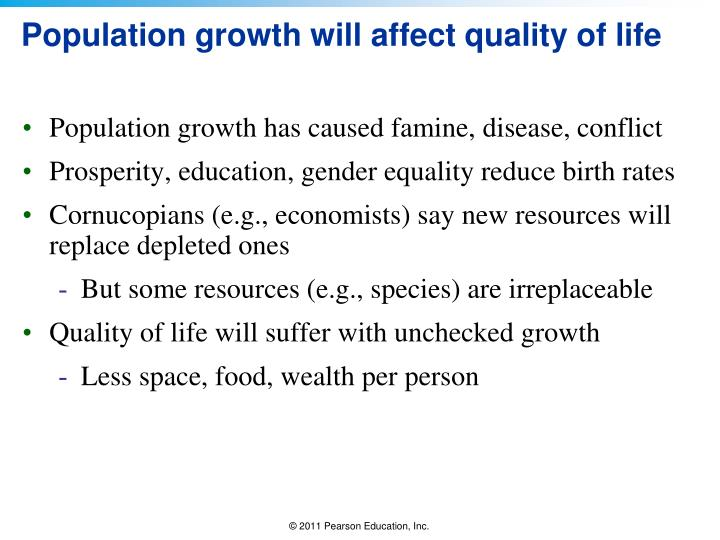 Population growth will affect quality of life