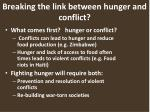 breaking the link between hunger and conflict