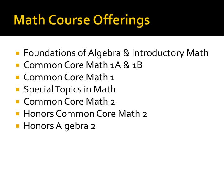 Math Course Offerings