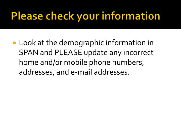 Please check your information