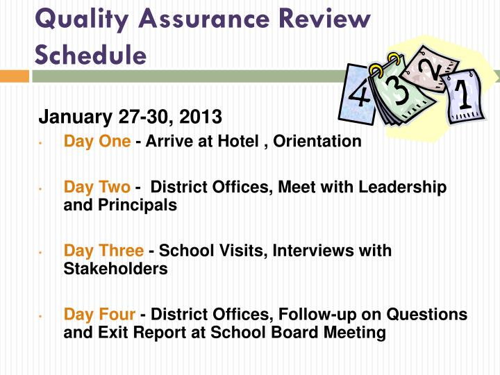 Quality Assurance Review Schedule