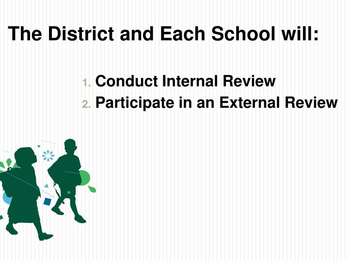 The District and Each School will: