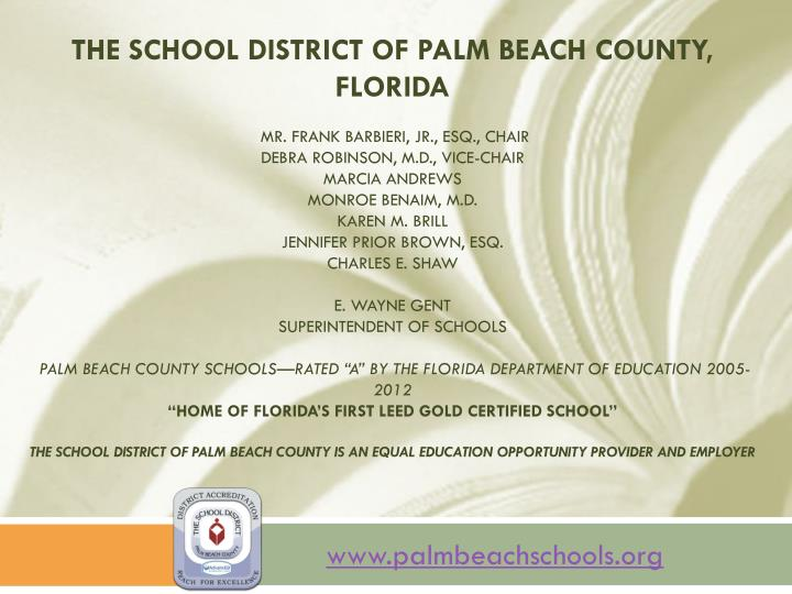 The School District of Palm Beach County, Florida