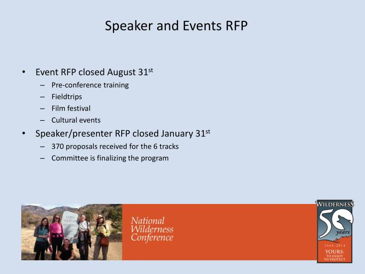 Speaker and Events RFP