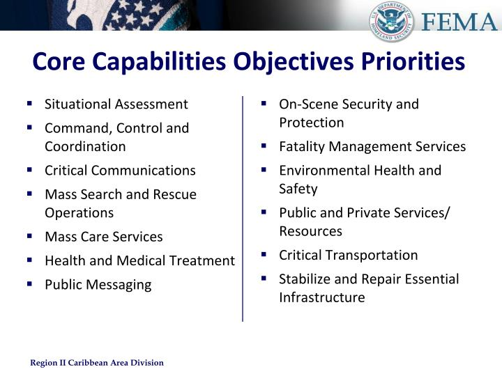 Core Capabilities Objectives Priorities