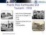 puerto rico earthquake and tsunami 1918