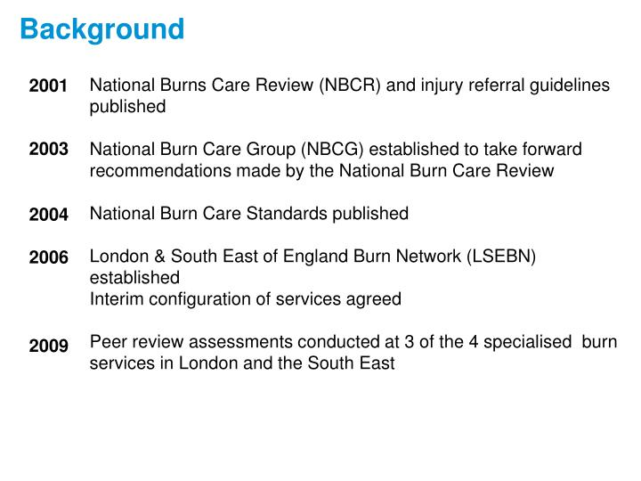National Burns Care Review (NBCR) and injury referral guidelines