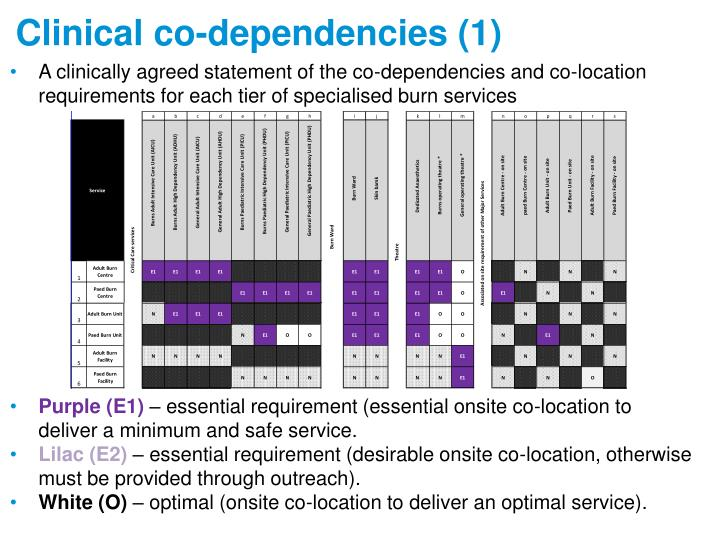 A clinically agreed statement of the co-dependencies and co-location requirements for each tier of specialised burn services