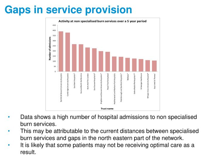 Gaps in service provision