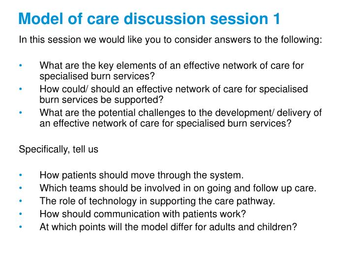 Model of care discussion session 1