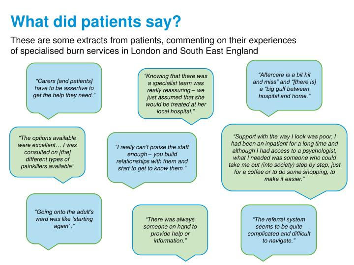 These are some extracts from patients, commenting on their experiences