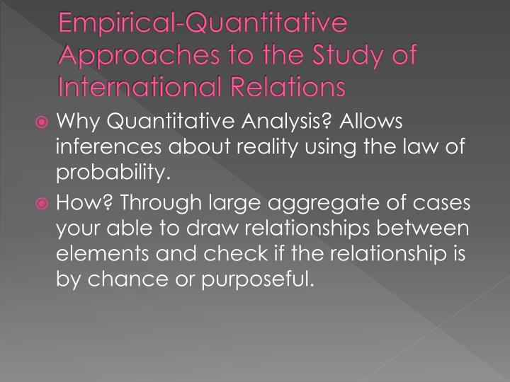 Empirical quantitative approaches to the study of international relations