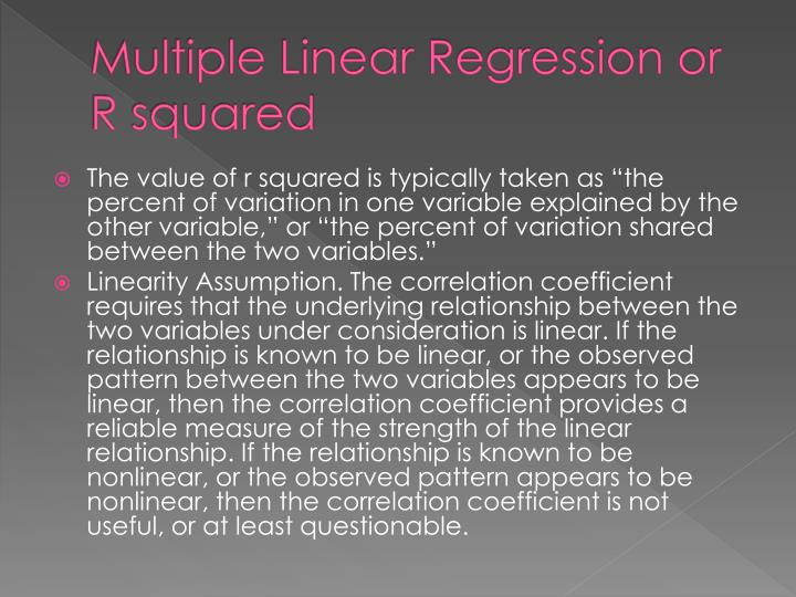 Multiple Linear Regression or R squared