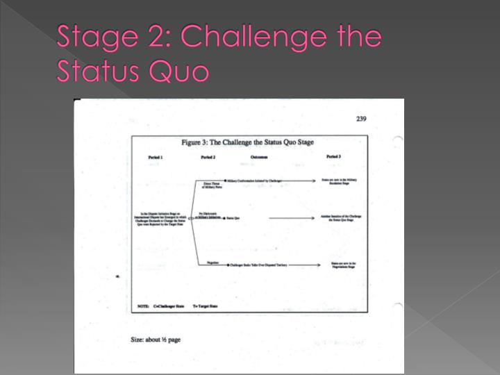 Stage 2: Challenge the Status Quo