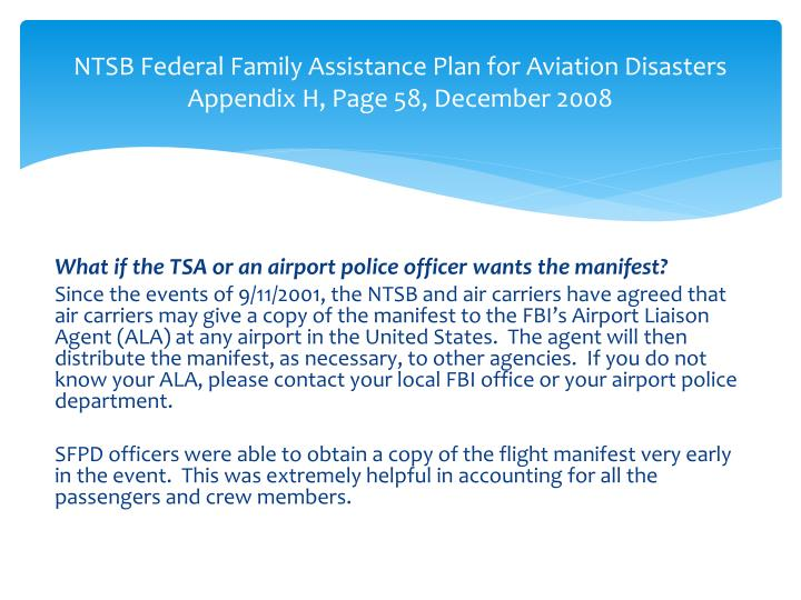 NTSB Federal Family Assistance Plan for Aviation Disasters
