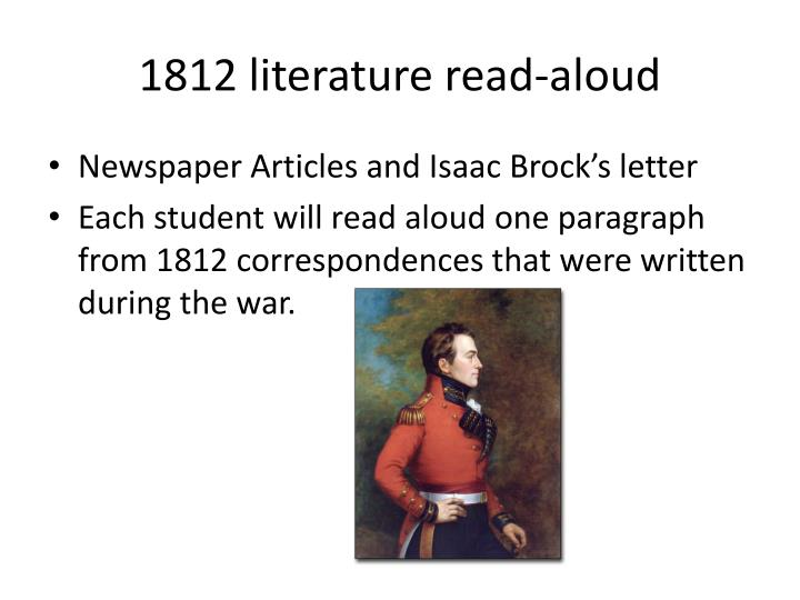 1812 literature read-aloud