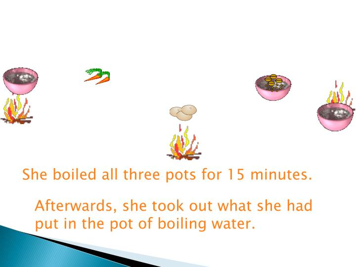 She boiled all three pots for 15 minutes.