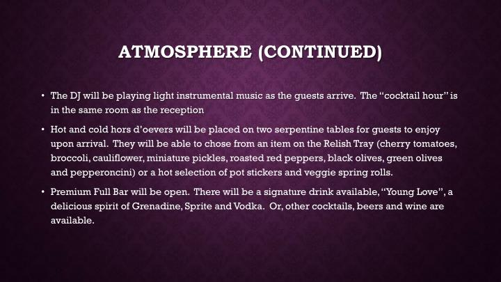 Atmosphere (continued)