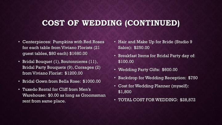 Cost of Wedding (continued)
