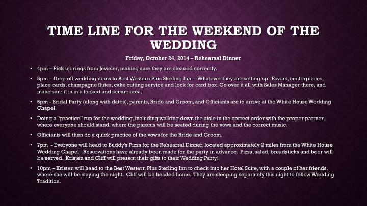 Time line for the weekend of the wedding