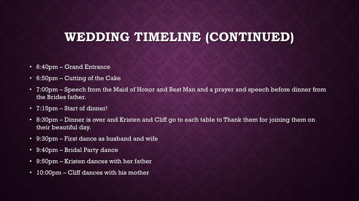 Wedding timeline (continued)