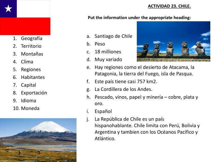 ACTIVIDAD 23. CHILE.