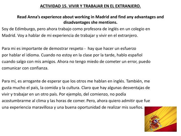 ACTIVIDAD 15. VIVIR Y TRABAJAR EN EL EXTRANJERO.