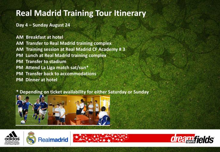 Real Madrid Training Tour Itinerary