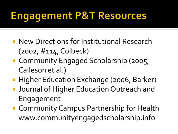 Engagement P&T Resources