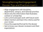 strengthening the engagement dossier tips and practices cont