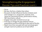 strengthening the engagement dossier tips and practices cont2