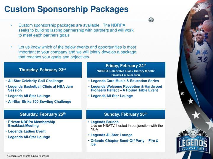 Custom Sponsorship Packages