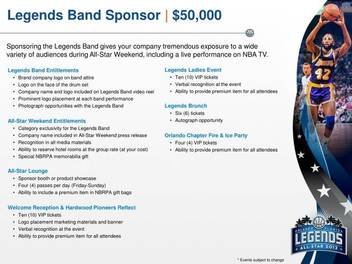 Legends Band Sponsor