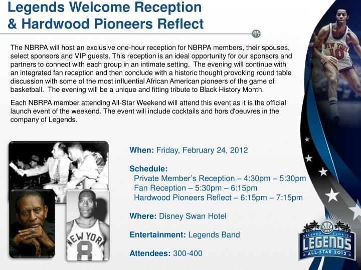 Legends Welcome Reception