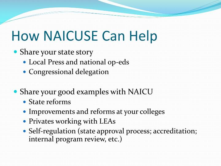 How NAICUSE Can Help