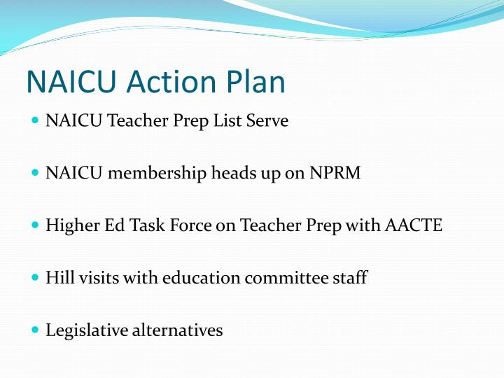 NAICU Action Plan
