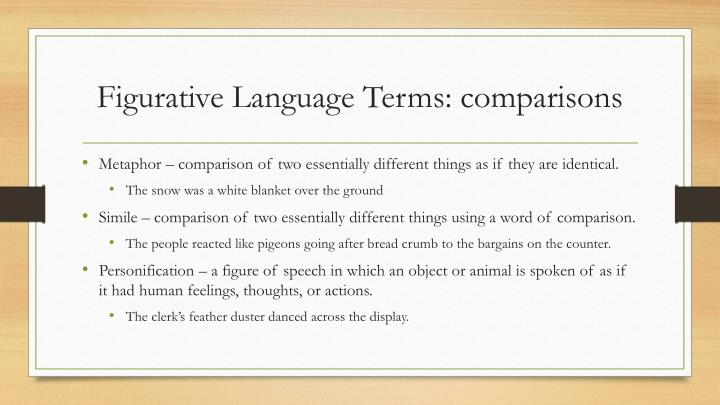Figurative language terms comparisons