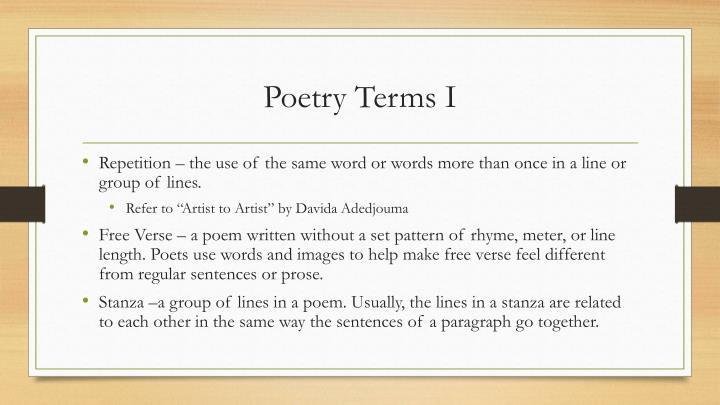 Poetry Terms I