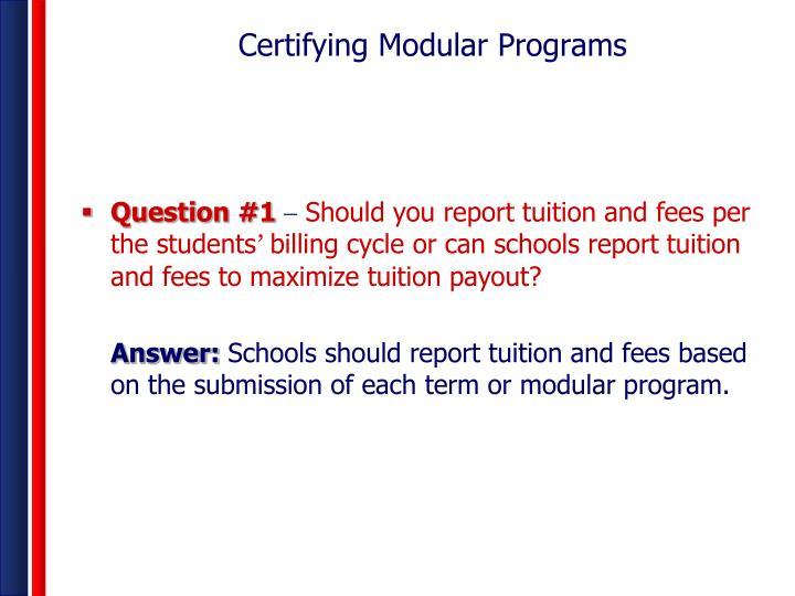 Certifying Modular Programs