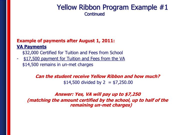 Yellow Ribbon Program Example #1