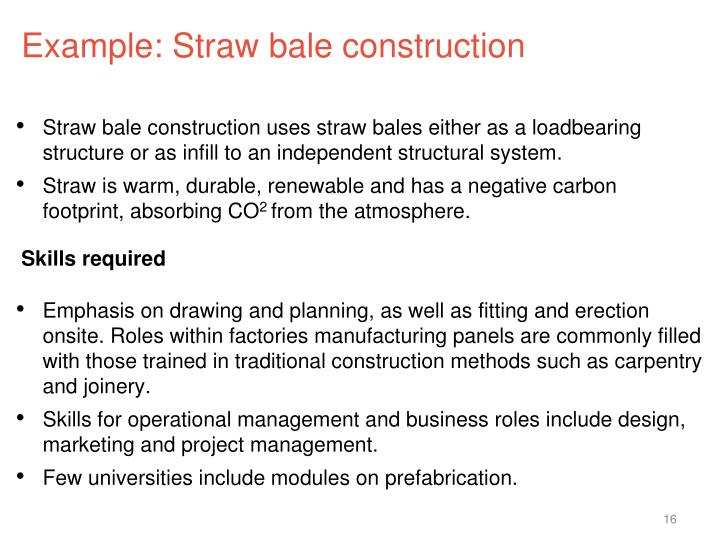 Example: Straw bale construction