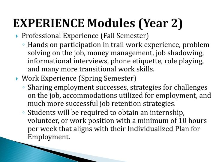 EXPERIENCE Modules (Year 2)