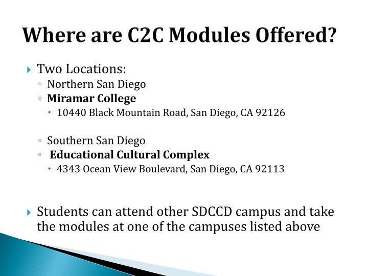 Where are C2C Modules Offered?